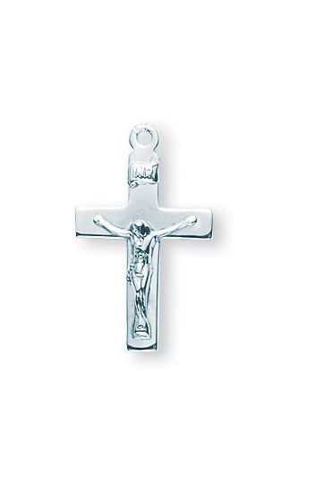 13/16-inch Sterling Silver Crucifix with 18-inch Chain