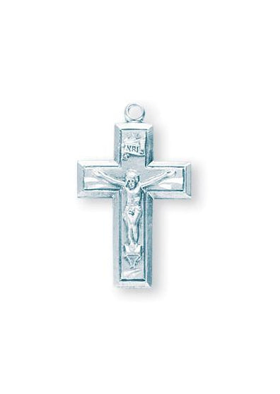 7/8-inch Sterling Silver Crucifix with 18-inch Chain