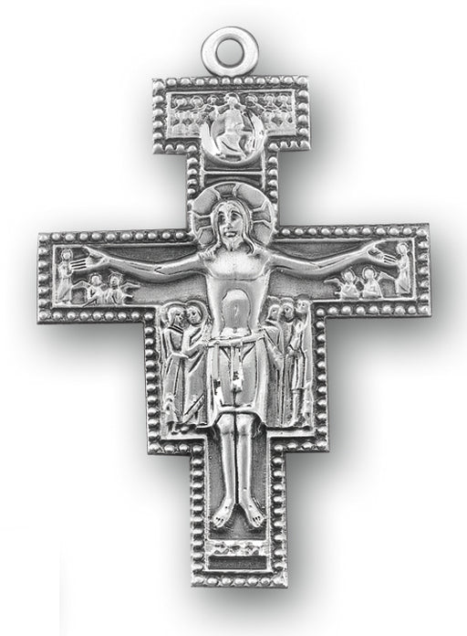 2-inch Sterling Silver San Damiano Crucifix with 27-inch Chain