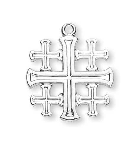 Sterling Silver Jerusalem Cross with 18-inch Chain