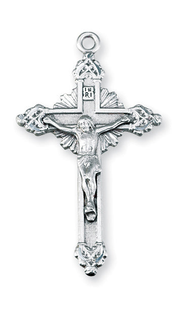 1 3/4-inch Sterling Silver Crucifix with 24-inch Chain