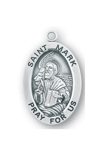 Sterling Silver Oval Shaped Saint Mark Medal
