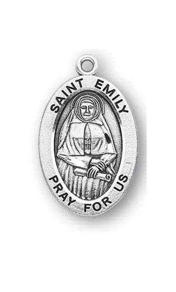 Sterling Silver Oval Shaped Saint Emily Medal