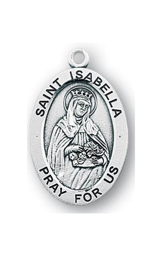 Sterling Silver Oval Shaped Saint Isabella Medal