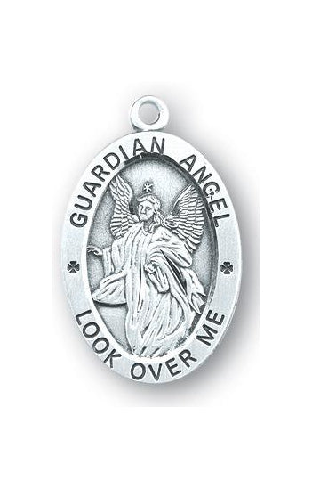 Sterling Silver Oval Shaped Guardian Angel, Angel Jewelry Medal