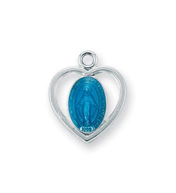 Sterling Silver Heart Shaped Blue Enameled Miraculous Medal