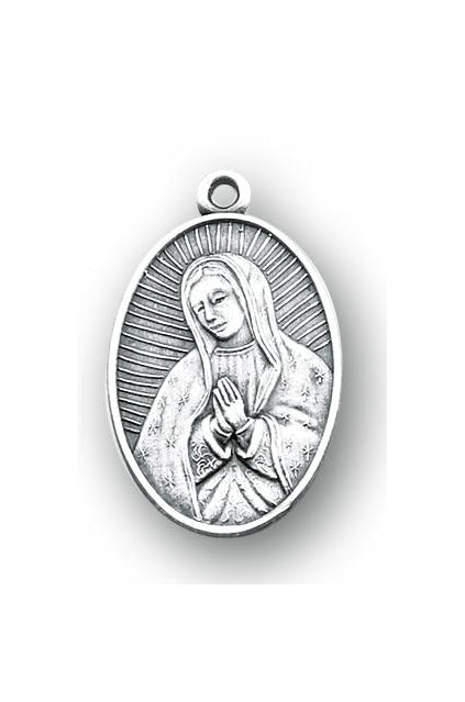 1-inch Round Sterling Silver Our Lady of Guadalupe Medal with 18-inch Chain
