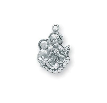 3/4-inch Sterling Silver Saint Joseph Medal with 16-inch Chain