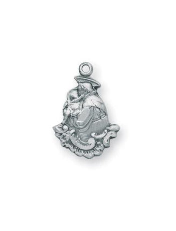 5/8-inch Sterling Silver Saint Anthony Medal with 18-inch Chain