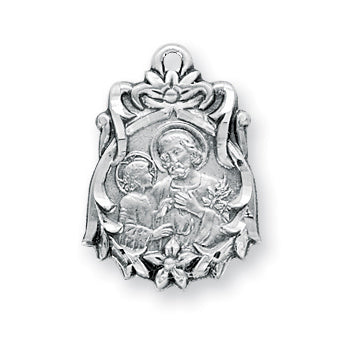 13/16-inch Sterling Silver Saint Joseph Medal with 18-inch Chain