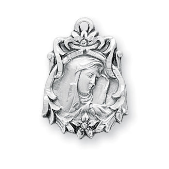13/16-inch Sterling Silver Our Lady of Sorrows Medal with an 18-inch Chain