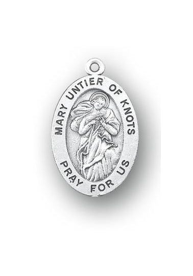 7/8-inch Sterling Silver Mary Untier of Knots Medal with 18-inch Chain