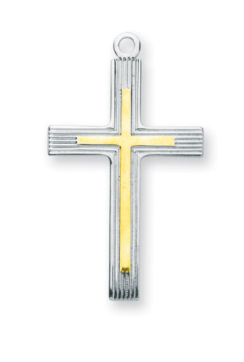 1 1/4-inch Tutone Sterling Silver Cross with 24-inch Chain