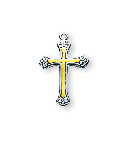 3/4-inch Tutone Sterling Silver Cross with 18-inch Chain