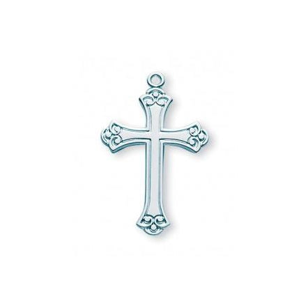 1 1/8-inch Sterling Silver Cross with 18-inch Chain