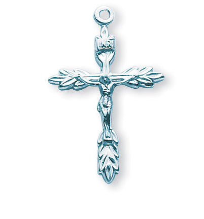 1 1/8-inch Sterling Silver Wheat Crucifix with 18-inch Chain