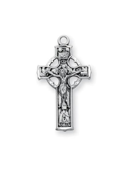 1 1/8-inch Sterling Silver Celtic Crucifix with 18-inch Chain