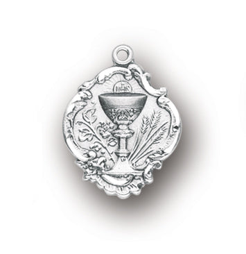 3/4-inch Sterling Silver Chalice Pendant with 18-inch Chain