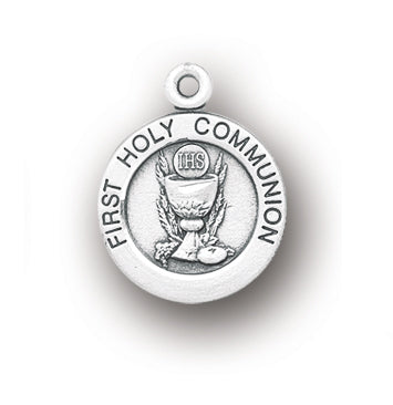 3/4-inch Round Sterling Silver First Holy Communion Medal