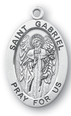 Sterling Silver Oval Shaped Saint Gabriel Medal