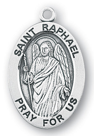 Sterling Silver Oval Shaped Saint Raphael Medal