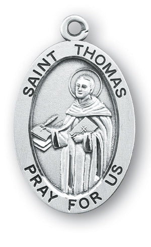 Sterling Silver Oval Shaped Saint Thomas Medal
