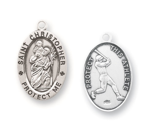 Sterling Silver Saint Christopher Baseball Athlete Medal