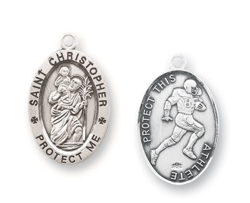 Sterling Silver Saint Christopher Football Athlete Medal