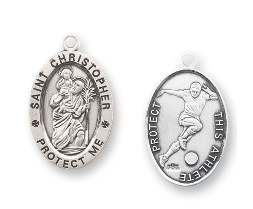 Sterling Silver Saint Christopher Soccer Athlete Medal