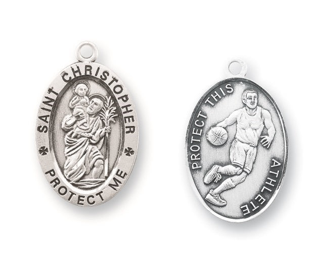 Sterling Silver Saint Christopher Basketball Athlete Medal