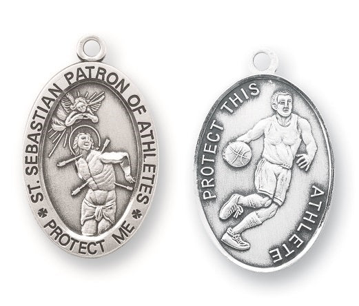 Sterling Silver Saint Sebastian Basketball Athlete Medal