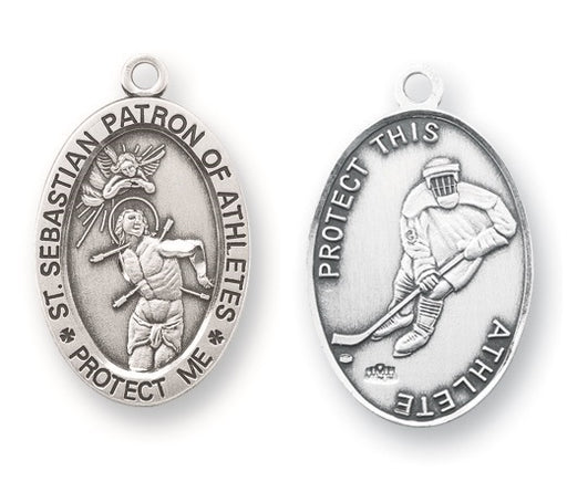 Sterling Silver Saint Sebastian Hockey Athlete Medal