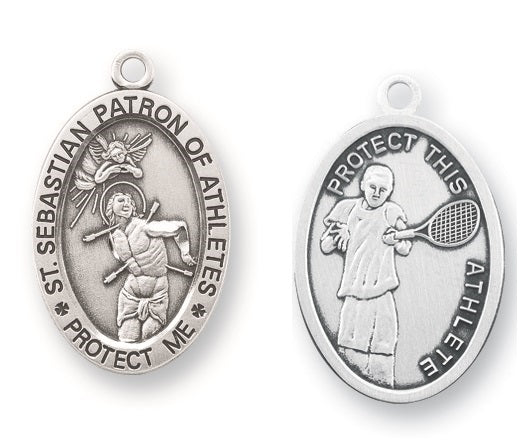 Sterling Silver Saint Sebastian Tennis Athlete Medal