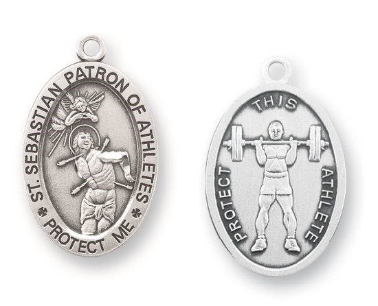 Sterling Silver Saint Sebastian Weight Lifting Athlete Medal