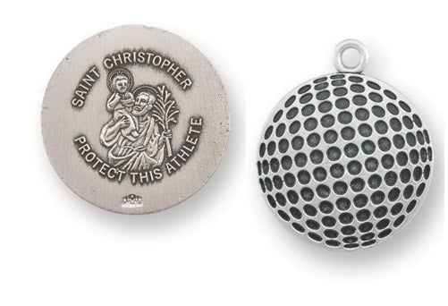 Sterling Silver Saint Christopher Golf Athlete Medal