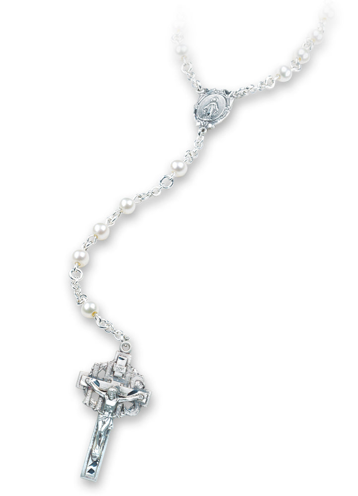 Genuine Cultured Pearl Rosary - Engravable