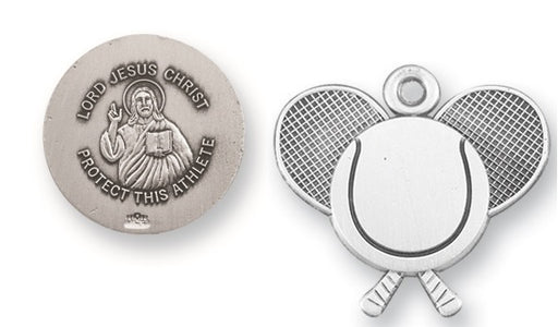 Sterling Silver Christ Tennis Athlete Medal