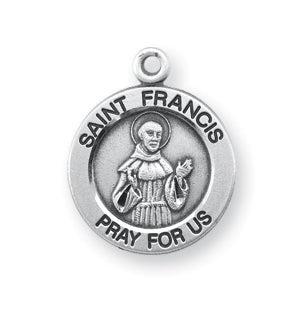 Sterling Silver Round Shaped Saint Francis Medal
