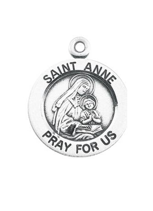 Sterling Silver Round Shaped Saint Anne Medal