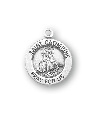 Sterling Silver Round Shaped Saint Catherine Medal
