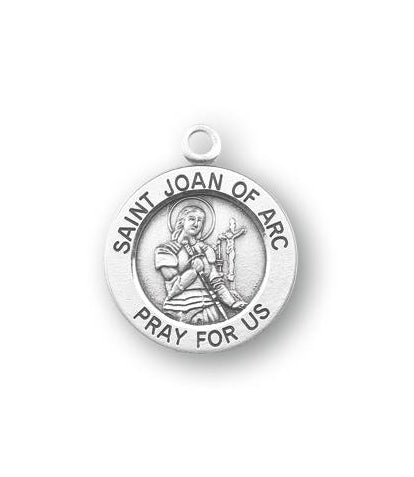Sterling Silver Round Shaped Saint Joan of Arc Medal