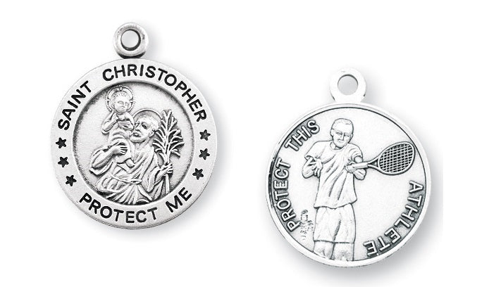 Sterling Silver Saint Christopher Tennis Athlete Medal