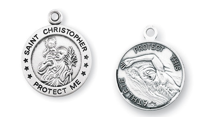 Sterling Silver Saint Christopher Swimming Athlete Medal