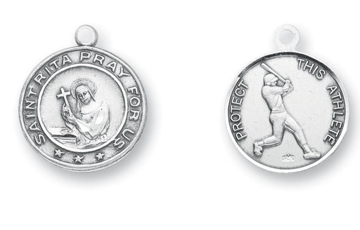 15/16-inch Sterling Silver Saint Rita/Baseball Medal with 24-inch Chain and Box