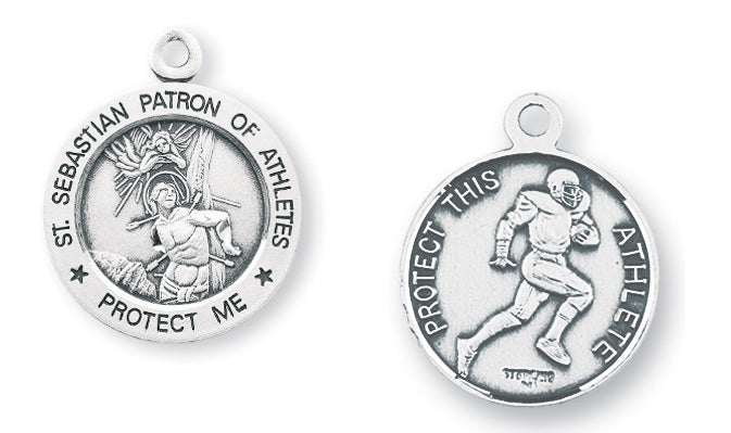 Sterling Silver Saint Sebastian Football Athlete Medal