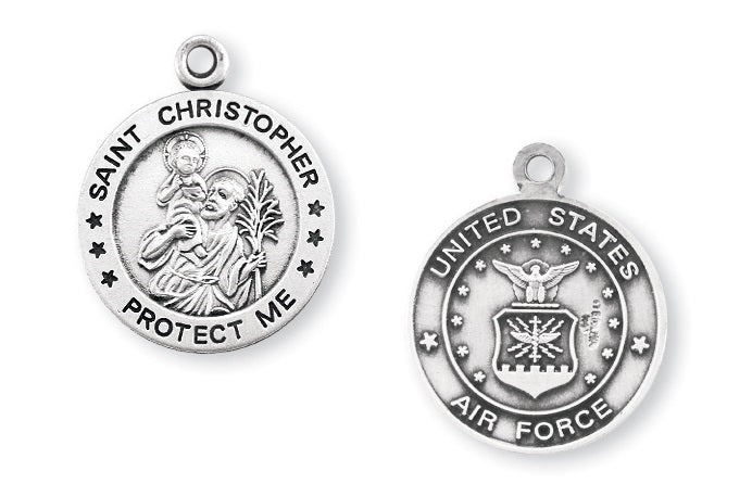 Sterling Silver Air Force Medal with Saint Christopher on Reverse Side