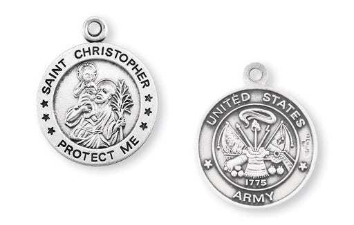 Sterling Silver Army Medal with Saint Christopher on Reverse Side