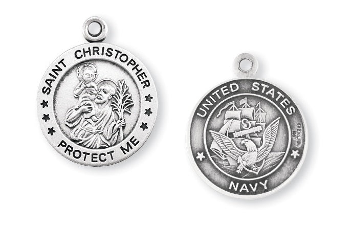 Sterling Silver Navy Medal with Saint Christopher on Reverse Side