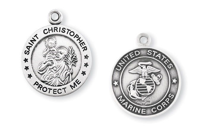 Sterling Silver Marines Medal with Saint Christopher on Reverse Side