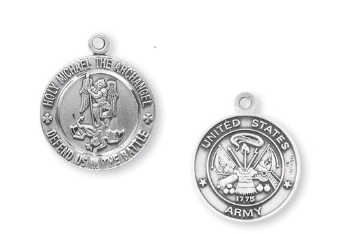 Sterling Silver Army Medal with Saint Michael on Reverse Side